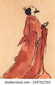 la vieja mano de poeta chino dibujada al estilo sumi-e con acuarelas en papel kraft