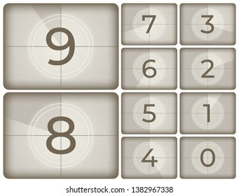 Old cinema countdown. Vintage film intro counting, movie projector count down and retro timer frames. Reel scratches television screen numbers isolated  illustration icons set
