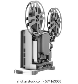 Old Cinema Projector, Vintage Movie or Video Concept. 3d Rendering Illustration Isolated on White Background