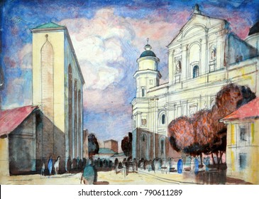 old city graphic painting
