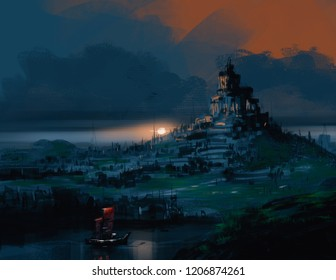 old city ruins with red sailboat against sunset, digital illustration art painting design style.