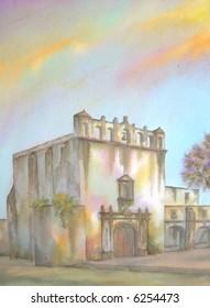 """Old Colonial & Augustine Convent, of Los Reyes, Meztitlan, Hidalgo, Mexico  # 97-108; 28x43 cm. = 11""""x17"""""""