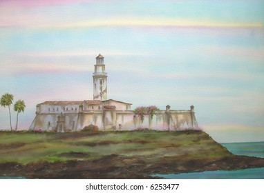 "Old Colonial Fortress, of Saint Anthony, Salvador, Bahia, Brazil # 96-110; 50x70 cm. - 20"" x 24"""