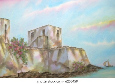 "Old Colonial Mexican-Caribbean Fortress, of Bakalar, Quintana Roo, Mexico  # 97-027; 50x70 cm. - 20"" x 24"""