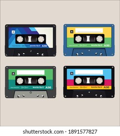 Old colorful  audio cassettes background collection