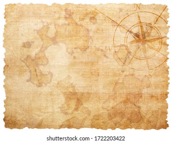 Old compass on the vintage paper background