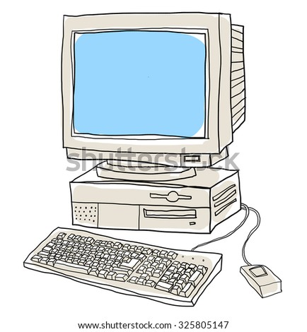 old computer desktop  cute art illustration