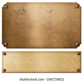 old copper metal plates or nameboards set with rivets 3d illustration