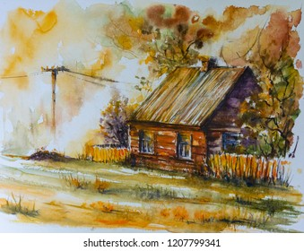 Old cottage  among autumn  trees in woods. Picture created with watercolors.