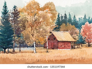 old cottage scenery watercolor hand painted