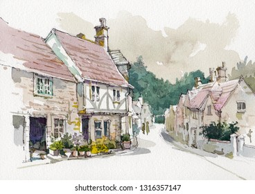 old cottage watercolor