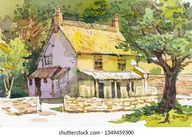 old cottage watercolor illustration drawing