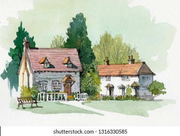 old cottage watercolor painting