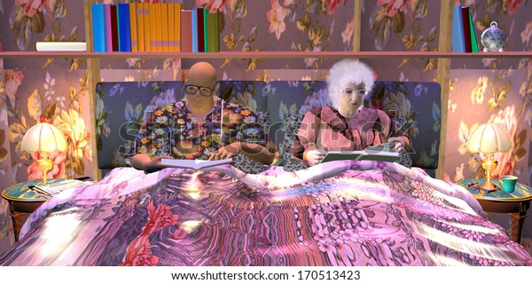 an old couple, a bald man, and a gray haired woman are reading books in their bedroom at night
