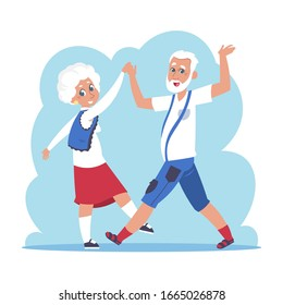 Old couple dancing. Cartoon happy granny and grandpa dancing, flat elderly people characters.  isolated active grandfather and grandmother on white background