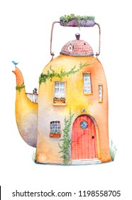 Old cozy house in a vintage kettle. Watercolor illustration isolated on white background.