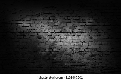 Old cracked  black brick wall background