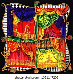 old curtain patterned multicolored scarf pattern