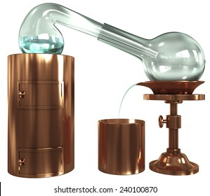 Old distillation, glass, copper, 3d render isolated on white