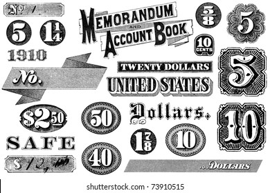 Old, distressed black and white graphic elements from 1870 through 1920.  Numbers and words, isolated on white.