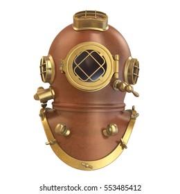 Old Diving Helmet. 3D rendering