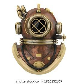 Old Diving Helmet Isolated. 3D rendering