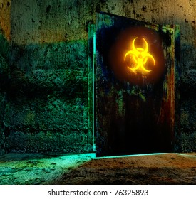 Old door in storage  bio hazard danger material