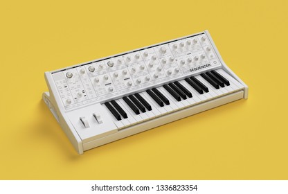Old electronic synthesizer 3d render, 3d illustration.