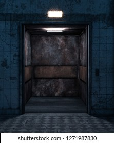 An old elevator in abandoned house,3d rendering