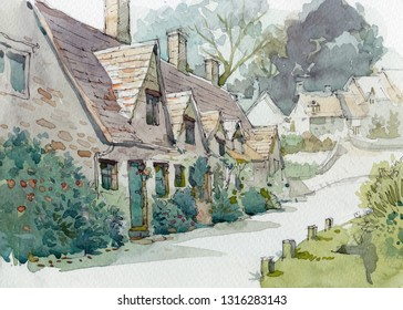 old English cottage watercolor painting