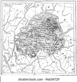 "Old engraved illustration of map of Department of Haute-Savoie. From ""The Dictionary of Words and Things"" - Published by Larive and Fleury in 1895."