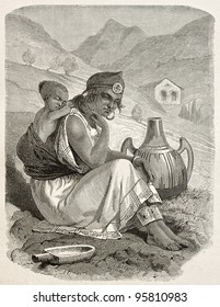 Old engraved portrait of a Kabylian woman and son, Algeria. Created by Stop, Gauchard and Brunier, published on Le Tour Du Monde, Paris, 1867