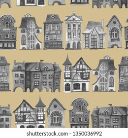 Old europe houses seamless pattern.Rero city pattern. Set of watercolor colorful european amsterdam style houses isolated on white background. Watercolour hand drawn facades of old buildings