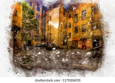 Old European street in colorful colors of digital watercolor painting.