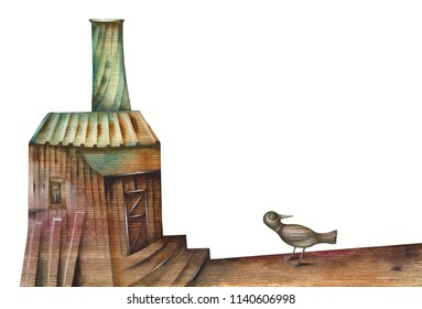 Old factory and bird