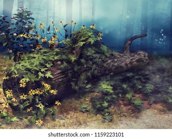 Old fallen tree with green ivy and yellow flowers in the forest. 3D illustration.