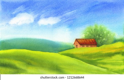 Old farm and fields in the countryside. Organic farms - Field and blue sky. Watercolor illustration landscape and sky. Watercolor rural background of nature.
