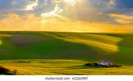 Old farm house in the fields at sunset. Hilly landscape painting illustration.