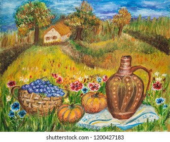 Old Farm house, fruits and flowers thanksgiving landscape - oil painting