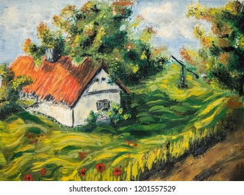 Old Farm house, Tree flowers landscape - oil painting