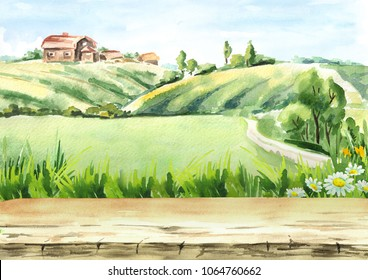 Old farm in rural landscape and empty table as background . Watercolor hand drawn illustration