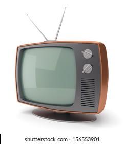 Old fashioned 70 style vintage TV set icon isolated on white background