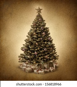 Old fashioned Christmas tree on vintage parchment grunge texture with traditional ornate decorative balls and gifts with ribbons and bows as a classic seasonal  winter celebration icon and new year.