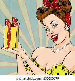 Old fashioned lady with the gift in vintage style. Pin up girl holding present in hands.  Special offer advertising poster with Pop Art woman on it.