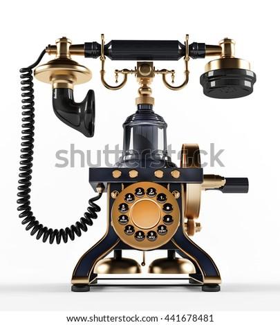 Old Fashioned Telephone 3 D Illustration Stock Illustration