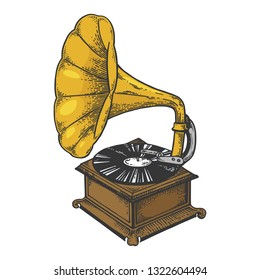 Old fashioned vintage gramophone phonograph color sketch engraving raster illustration. Scratch board style imitation. Black and white hand drawn image.