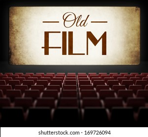 Old film in vintage retro cinema, view from audience