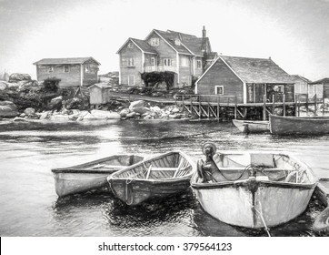 Old Fishing boats ashore - Charcoal sketch, digital art work