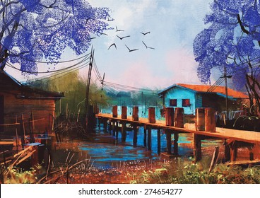 old fishing village,oil painting style,illustration