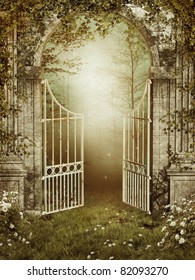 Old garden gate with ivy and roses